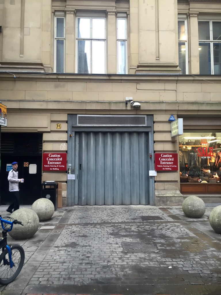 Photo of Half Moon Street entrance to the car park under the Royal Exchange